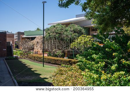 WESTERN AUSTRALIA, PERTH - NOVEMBER 2016: Garden at Mercedes College Secondary School for girls