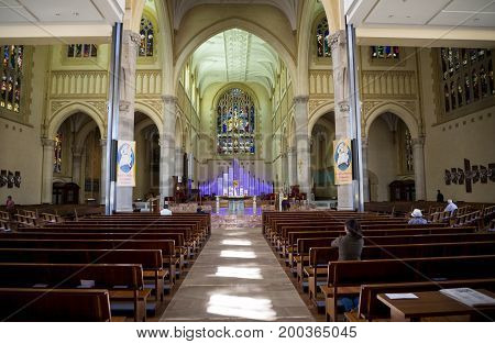 WESTERN AUSTRALIA, PERTH - NOVEMBER 2016: Interior of St Mary's Cathedral