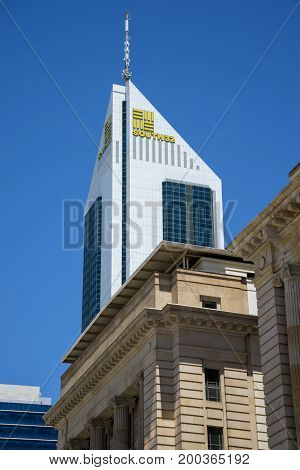 WESTERN AUSTRALIA, PERTH - NOVEMBER 2016: South32 tower building (former BankWest tower)