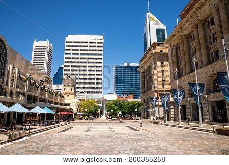 WESTERN AUSTRALIA, PERTH - NOVEMBER 2016: A view of Forrest Place Square and South32 tower
