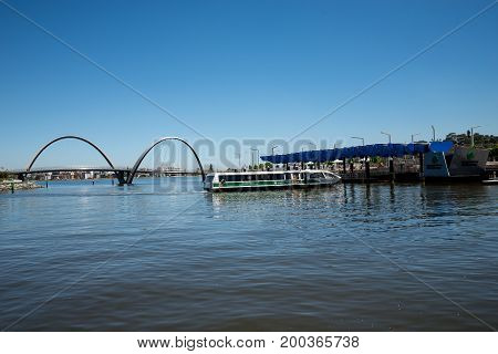 WESTERN AUSTRALIA, PERTH - NOVEMBER 2016: Arrival of Transperth Ferry to Elizabeth Quay Jetty