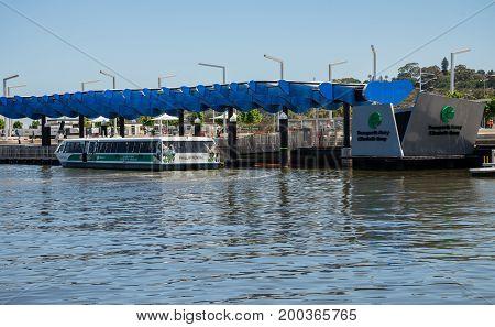 WESTERN AUSTRALIA, PERTH - NOVEMBER 2016: Transperth public ferry at Elizabeth Quay Jetty
