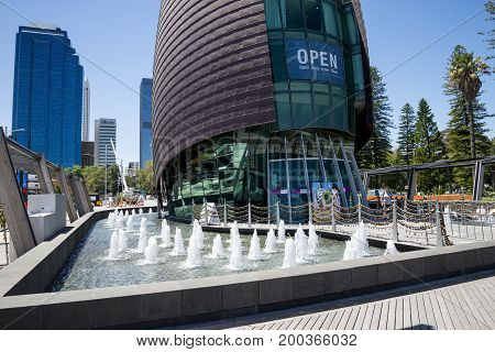 WESTERN AUSTRALIA, PERTH - NOVEMBER 2016: Fountains in front of entrance to Swan Bell Tower