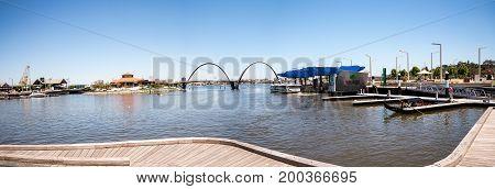 WESTERN AUSTRALIA, PERTH - NOVEMBER 2016: Panorama of Elizabeth Quay with Bridge and Jetty