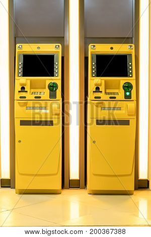 Yellow ATM machines. The station automatic machines.