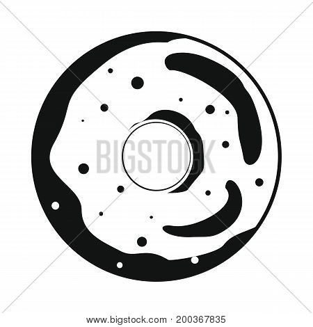 Donut bakery product in black simple silhouette style icons vector illustration for design and web isolated on white background. Donut bakery product vector object for labels and logo