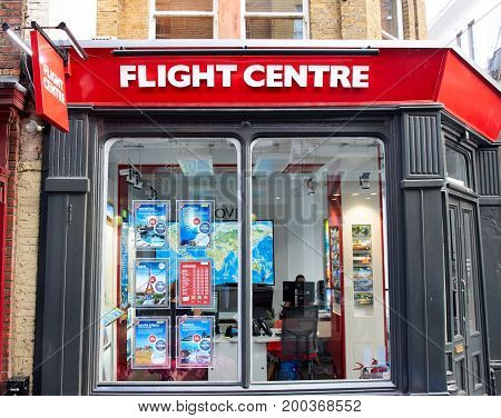 LONDON ENGLAND - MAY 13 2017 : Flight Centre office and storefront. Flight Centre is a large and reputable travel agency