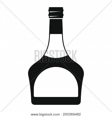 Bottle alcohol liqueur in black simple silhouette style icons vector illustration for design and web isolated on white background. Bottle alcohol liqueur vector object for labels