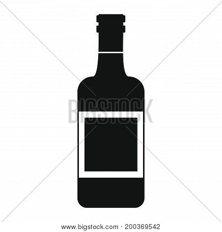 Bottle alcohol whiskey in black simple silhouette style icons vector illustration for design and web isolated on white background. Bottle alcohol whiskey vector object for labels