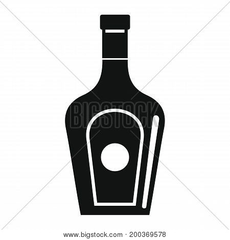 Bottle alcohol gin in black simple silhouette style icons vector illustration for design and web isolated on white background. Bottle alcohol gin vector object for labels