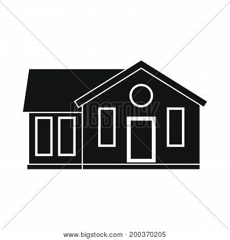 Cottage house black simple silhouette icon vector illustration for design and web isolated on white background. Cottage house vector object for labels  and advertising