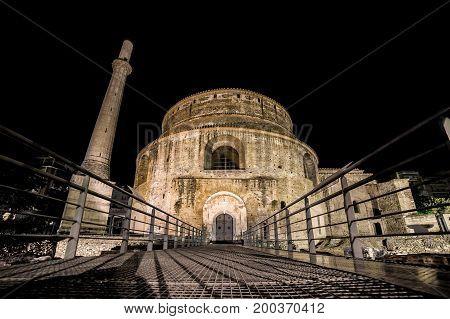 Rotunda of Galerius at night Thessaloniki Greece