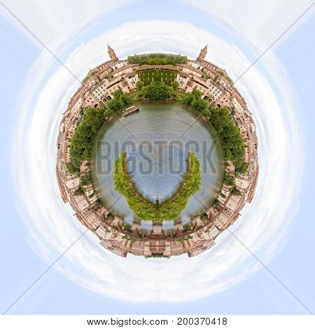 Planet Effect Of Boat In Tarn River With A View Of Albi, France