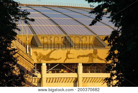 MOSCOW RUSSIA - August 15 2017 Grand sports arena of the Luzhniki stadium in Moscow which will host the opening match and the final of the 2018 World Cup