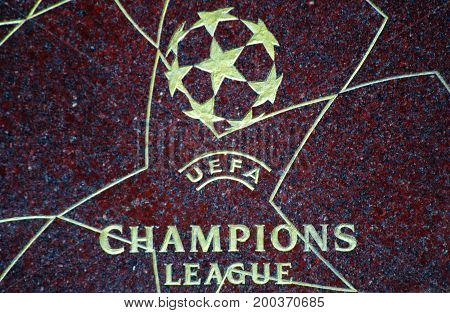 MOSCOW RUSSIA - August 15 2017 Logo UEFA Champions League