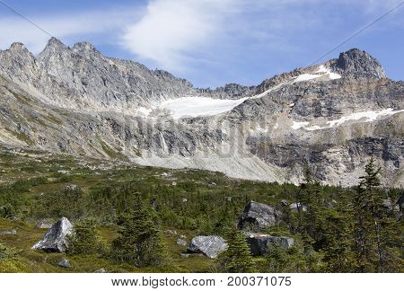 The scenic view of Devil's Punchbowl landscape over one kilometer above sea level (Skagway Alaska).
