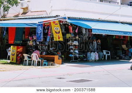 A small shop on the first floor of the building is typical for street trade in Turkey (Alanya, Turkey) in July, 2017.