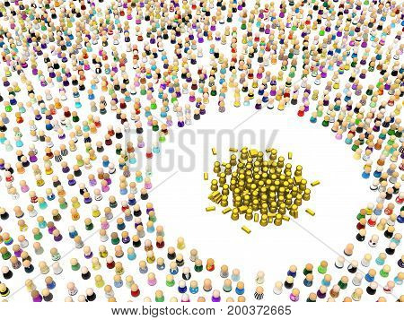 Crowd of small symbolic figures golden group 3d illustration horizontal isolated over white