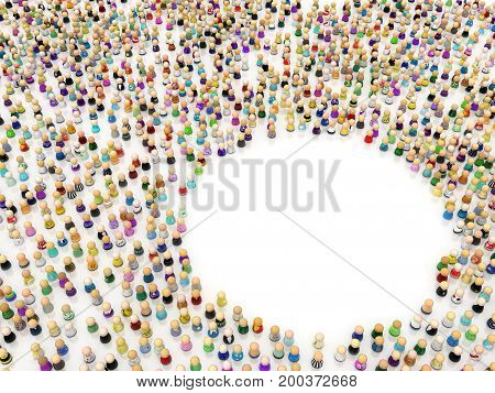 Crowd of small symbolic figures empty ring 3d illustration horizontal isolated over white