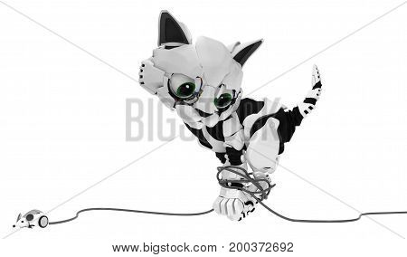 Robotic kitten with computer mouse cable entangled 3d illustration horizontal isolated