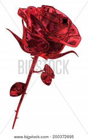 Rose ruby gem object isolated 3d illustration vertical