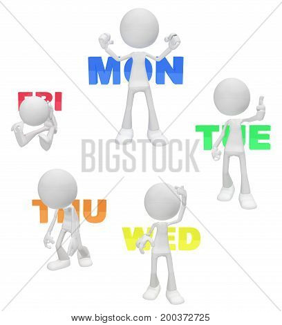 White symbolic figures active poses set weekdays work exhausted 3d illustration vertical isolated