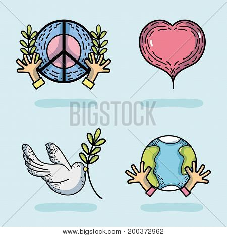 set national peace and love day vector illustration