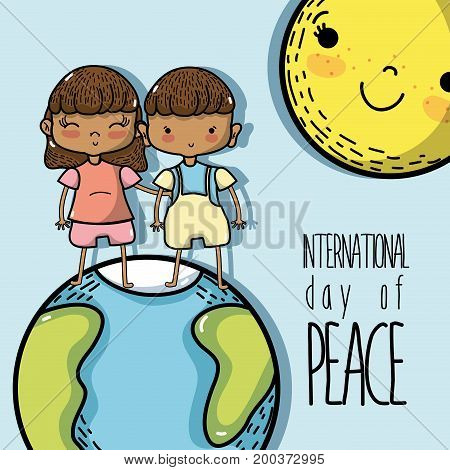 national peace and love day to global harmony vector illustration
