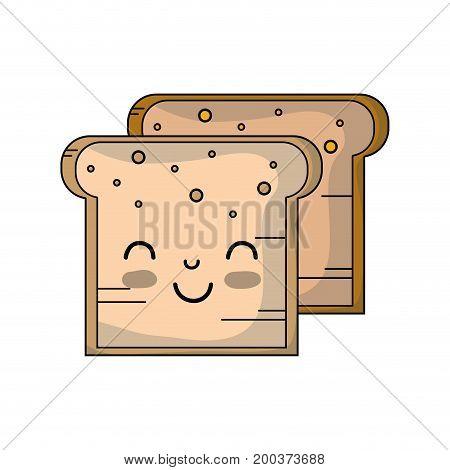kawaii cute tender breads nutrition vector illustration