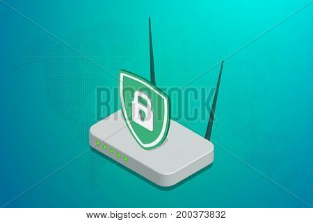 A router on a blue background isometric