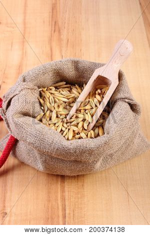 Heap Of Organic Oat Grains In Jute Bag, Healthy Nutrition Concept