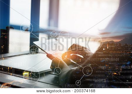 double exposure hand using telecommunication device network