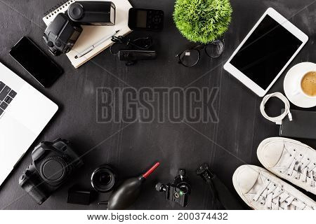 photography gear device on table top view