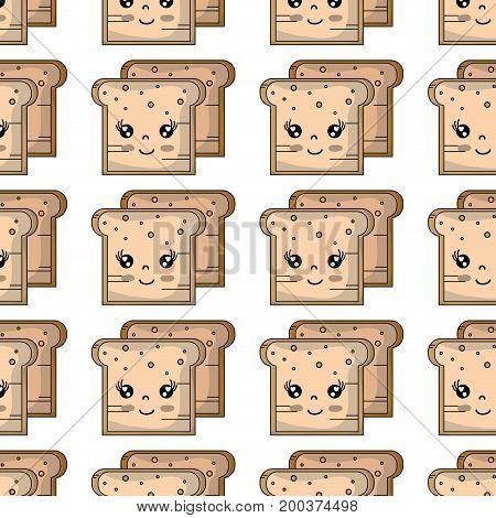 kawaii cute tender breads nutrition background vector illustration