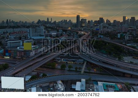 Bangkok city highway intersection and downtown background cityscape background Thailand