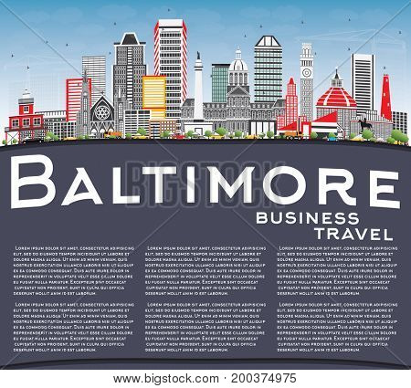 Baltimore Skyline with Gray Buildings, Blue Sky and Copy Space. Business Travel and Tourism Concept with Modern Architecture. Image for Presentation Banner Placard and Web Site.