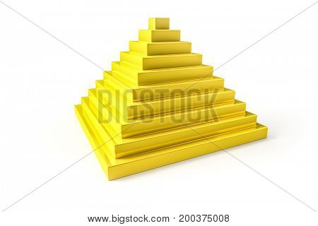 3d illustration of an abstract golden pyramid