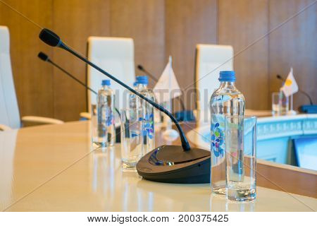Table microphones at conference hall