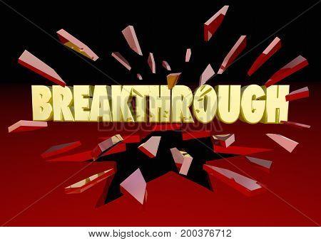 Breakthrough Words Breaking Thru Glass 3d Illustration