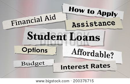 Student Loans Newspaper Headlines College Debt 3d Illustration