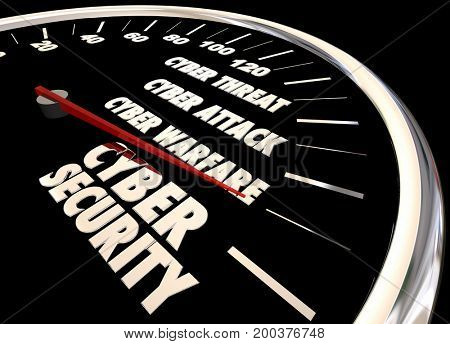 Cyber Security Threat Attack Warfare Level Gauge 3d Illustration