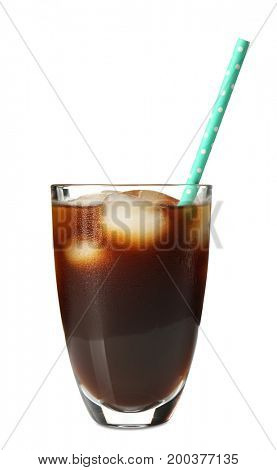 Glass with cold brew coffee and straw on white background