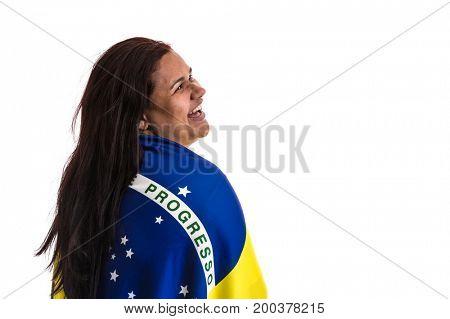 Woman fan holding Brazilian flag on white background
