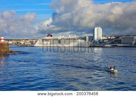 Marina of Ponta Delgada, Sao Miguel Island, Azores, Portugal, Europe