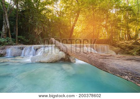 Tropical deep forest stream waterfall natural landscape background