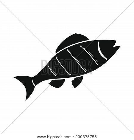 Fish grill in black simple silhouette style icons vector illustration for design and web isolated on white background. Fish grill vector object for labels advertising