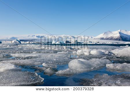 Iceland winter season lake with clear blue sky background