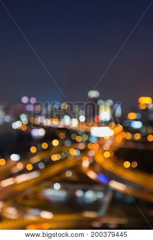 Night light blurred bokeh city highway interchanged abstract background
