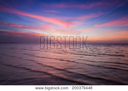 Beautiful after sunset skyline seacoast natural landscape background