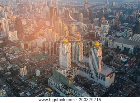Aerial view City of Bangkok central business downtown cityscape background Thailand